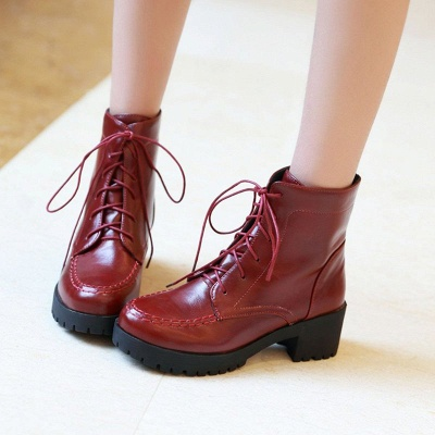 Daily Lace-up Fall PU Round Toe Boot_7