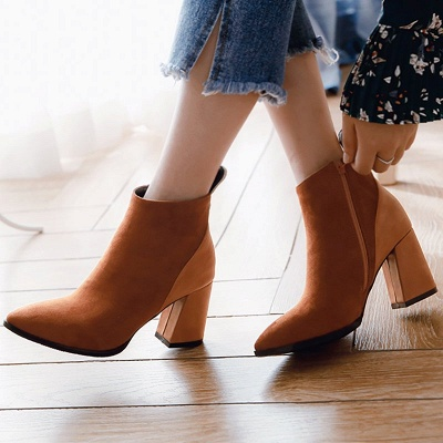 Chunky Heel Suede Elegant Round Toe Boots_2