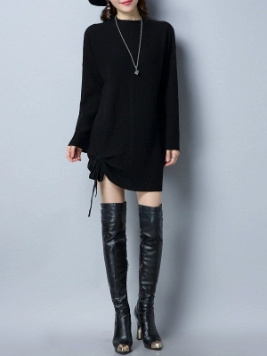 Long Sleeve Casual Stand Collar Knot Front Sweaters_10