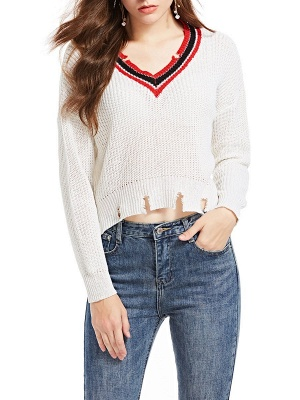 White Long Sleeve Solid Casual Sweater_7