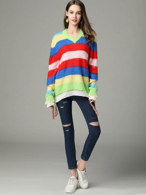 Multicolor V neck Cotton Long Sleeve Sweater_4