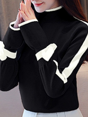 Turtleneck Casual Balloon Sleeve Paneled Sweater_3