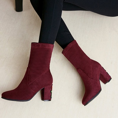Chunky Heel Working Suede Square Toe Boot_1
