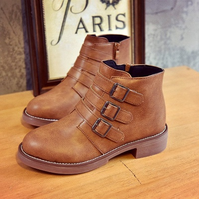 Zipper Daily Chunky Heel Round Toe Buckle Boots_7