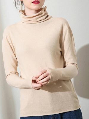 Casual Sheath Turtleneck Long Sleeve Sweater_5
