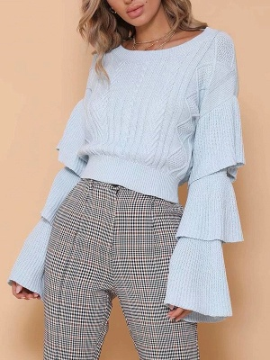 Shift Bell Sleeve Cotton Casual Sweater_2