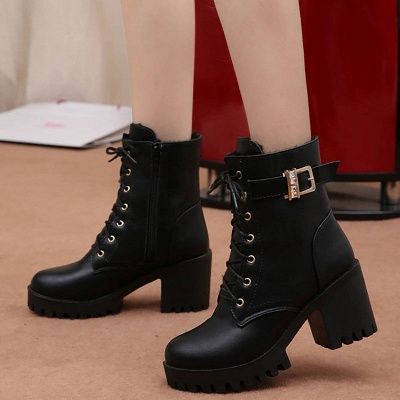Lace-up Chunky Heel Round Toe Buckle Elegant Boots_2