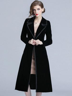 Black Lapel Paneled Buttoned Pockets Velvet Coat_1