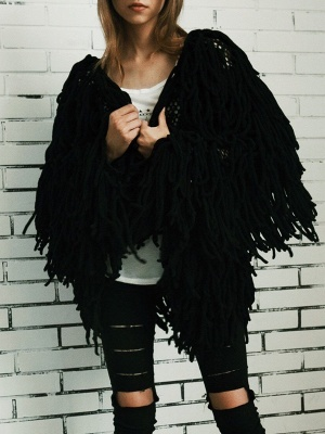 Long Sleeve Solid Shift Casual Crew Neck Fringed Coat_4