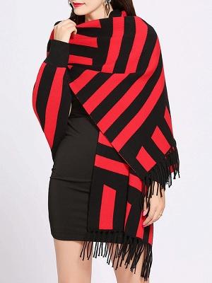 Striped Fringed Shift Long Sleeve Elegant Sweater_2