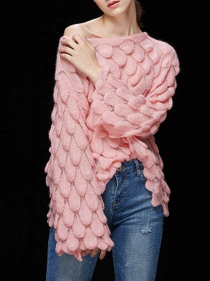 Casual Bell Sleeve Leaf One Shoulder Sweater_2