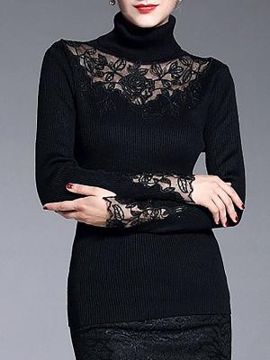 Shift Casual Long Sleeve Paneled Plain Sweater_6