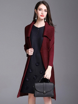 Shift Buttoned Pleated Shawl Collar Coat_1