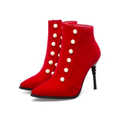 Suede Daily Stiletto Heel Pointed Toe Zipper Boots_1