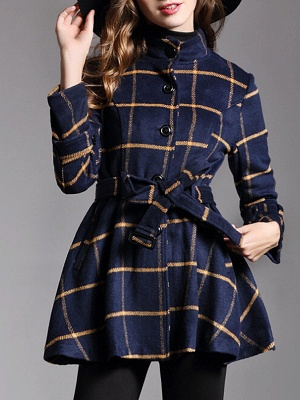 Navy Blue Bow Casual Stand Collar Checkered/Plaid Coat_1