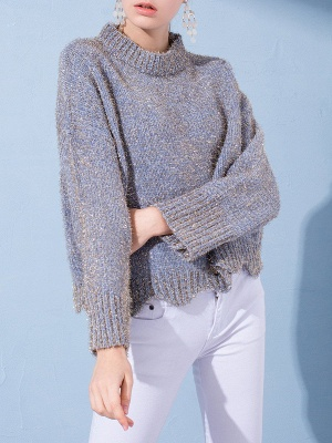 Gray Long Sleeve Casual Corduroy Stand Collar Sweater_5