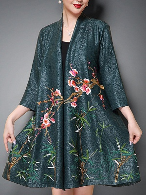 Casual Stand Collar Floral 3/4 Sleeve Coat_3