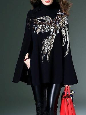 Black Elegant Shift Glitter-finished Animal Sweater_4