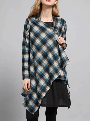 Checkered/Plaid High Low Casual Long Sleeve Coat_2