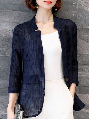 Navy Blue Pleated Casual Pockets 3/4 Sleeve Solid Coat_5