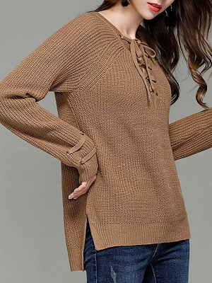 Sheath Long Sleeve Solid Lace up Casual Sweater_4