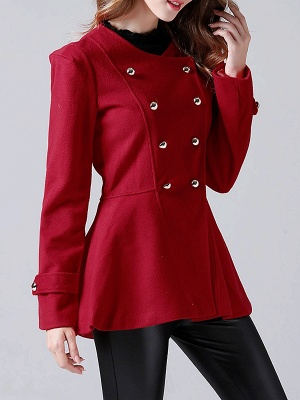 Red Buttoned Casual Shift Coat_5