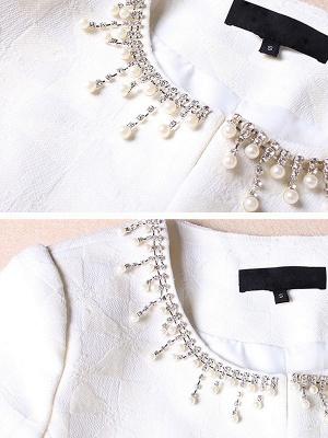 White Beaded 3/4 Sleeve Summer Solid Coat_6