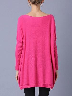 Rose Printed Wool Bateau/boat neck Batwing Casual Sweater_3