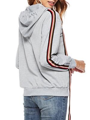 Gray Shift Hoodie Pockets Casual Zipper Paneled Coat_3