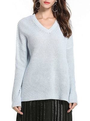 Casual Long Sleeve Knitted V neck Sweater_2