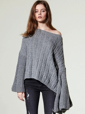 Knitted Shift Frill Sleeve Solid Casual Sweater_4