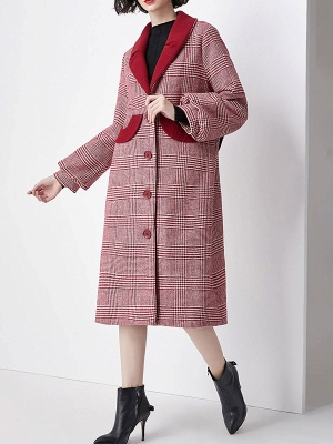 Burgundy Balloon Sleeve Buttoned Houndstooth Coat_5