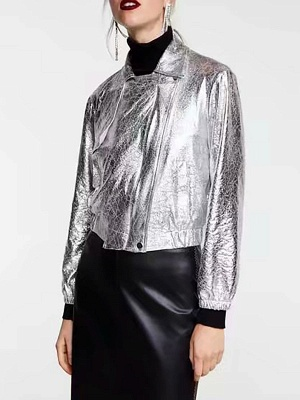Silver Gathered Paneled Shirt Collar Zipper Pockets Coat_1