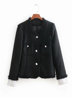 Black Casual Solid Crew Neck Buttoned Paneled Pockets Coat_6
