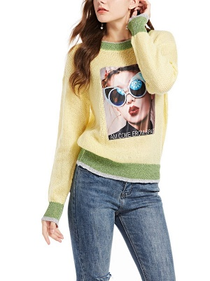 Yellow Long Sleeve Graphic Sweater_7