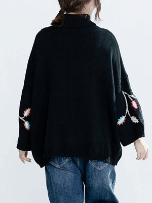 Black Casual Shift Embroidered Sweater_3