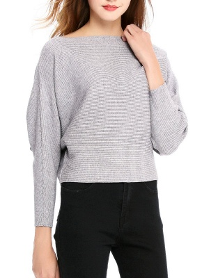 Slash Neck Batwing Simple Solid Sweater_5