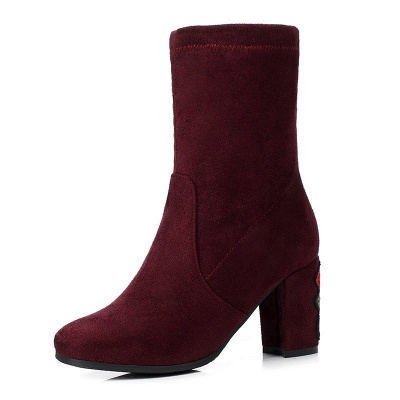 Chunky Heel Working Suede Square Toe Boot_9