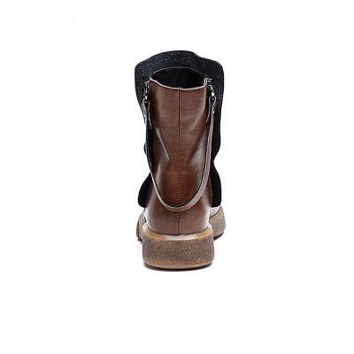 Zipper Daily Round Toe Flat Heel Boots_10