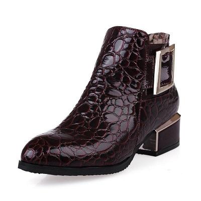 Zipper  Chunky Heel Embossing Boots_1