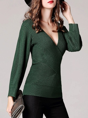 Green Sheath Long Sleeve Plunging neck Sweater_4