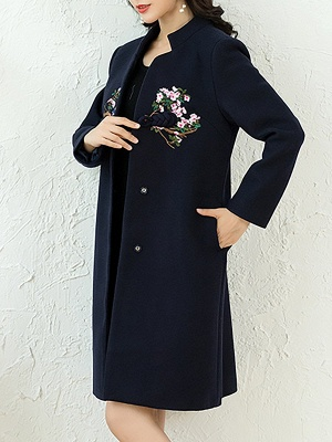Floral Embroidered Stand Collar Shift Coats_3