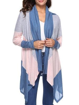 Cotton Casual Asymmetric Long Sleeve Color-block Coat_2