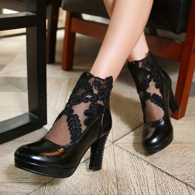 Mesh Fabric Zipper Round Toe Embroidery Boots_3