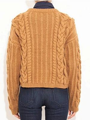 Geometric Crew Neck Long Sleeve Shift Casual Sweater_6
