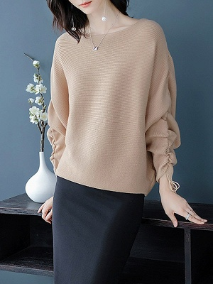Long Sleeve Casual Ribbed Sweater_1