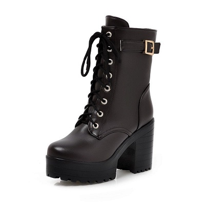 Lace-up PU Chunky Heel Round Toe Boots_7