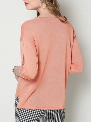 Ice Yarn Coral Solid Casual Shift Knitted Asymmetric Sweater_3