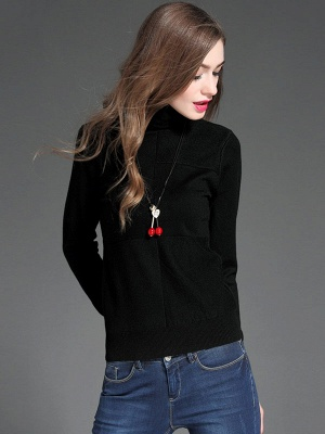 Paneled Solid Long Sleeve Casual Sweater_6
