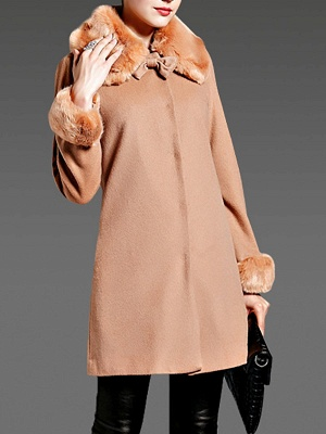 Coffee Bow Lapel Fluffy Buttoned  Paneled Coat_4